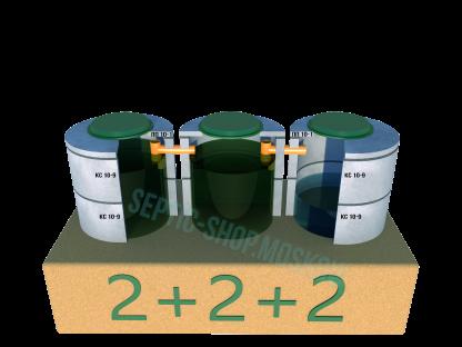 Септик 2+2+2 из бетонных колец